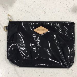 MZ Wallace Black Shiny Pouch Bag New